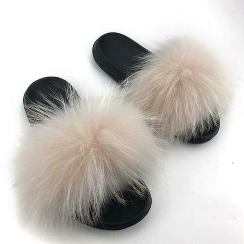 Flip Flop Flat Womens Real 100/% Fluffy Fur Sliders Slippers Indoor Outdoor Shoes