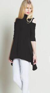 97b2b7c3e4b NWT SALE xsmall Clara Sun Woo mock neck cold shoulder black knit ...