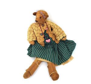 Vintage-Teddy-Bear-Brown-Green-Dress-Knit-Sweater-Stuffed-Animal-Soft-Toy-Plush