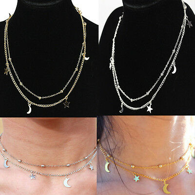 1X Charms Gold/silver Star&Moon Tassels Elegant Women Girl Choker Necklace Chain