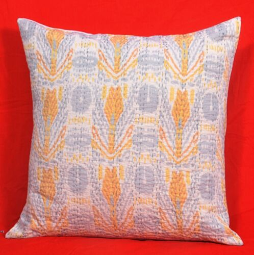"""24X24/"""" In Large Ikat Kantha Cushion Cover Bohemian Throw Pillow Ethnic Decor"""