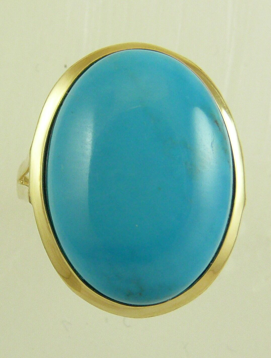 Reconstituted bluee 13 mm x 18 mm Turquoise Ring With 14k Yellow gold, Size 7 1 4