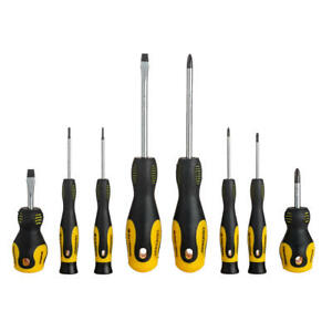 Slotted & Phillip Magnetic Screwdriver Set with Double Color TPR Handle, 8pk/Set