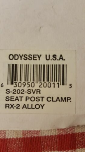 ODYSSEY RX-2 NOS 25.4MM SILVER SEAT POST CLAMP OLD SCHOOL BMX PEREGRINE HARO GT
