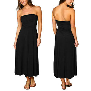 A-line-Chic-strapless-Jersey-Cocktail-Party-Day-Dress-Convertible-Skirt-Black