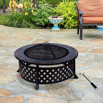 Outdoor Metal Fire Pit Garden Slate Table BBQ Round Brazier Patio Heater Stove