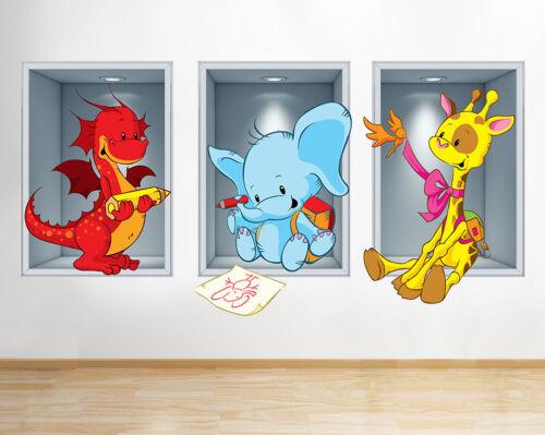 J223 Ventana de aula escolar Animales Lindo la etiqueta de la pared 3D Art Stickers Vinyl Habitación