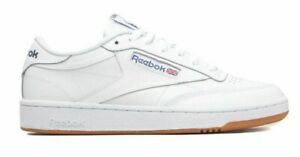 Men-039-s-Reebok-Trainers-Club-C85-AR0459-White-Navy-Low-Top-Shoes-Size-11-5-UK