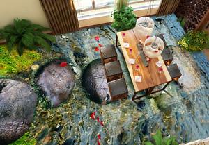 3D Stone River Leaf 8 Floor WallPaper Murals Wall Print 5D AJ WALLPAPER UK Lemon