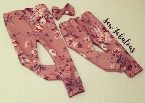 Handmade Baby Leggings Girls Clothes New UK Pink Mink Floral LOT Outfit