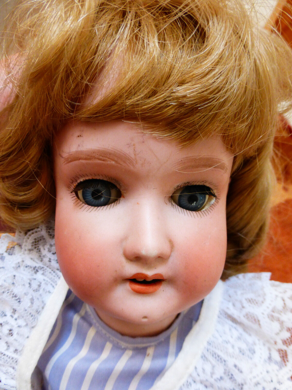 Large Vintage   Antique German doll bisque head comp body, 20  long
