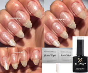 BLUESKY-GEL-POLISH-SILVER-VIP-CLEAR-GLITTER-80535-NAIL-LED-UV-SOAK-OFF-ANY-WIPES