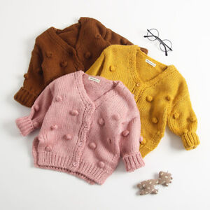 a2e2193a7 Baby Kid Girl Winter Ball In Hand Down Sweater Jacket Knit Tops ...