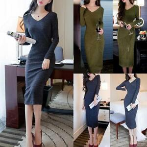 Women-Winter-Knitted-Sweater-Bodycon-V-Neck-Long-Pencil-Party-Dress-2Colors-2019