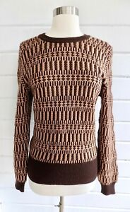 Vintage Jaeger 100 Wool Patterned Pullover Crewneck Sweater Brown Camel Sz 36 Ebay