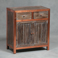 Industrial Cabinet Table Copper & Wood Large With 2 Drawers Storage
