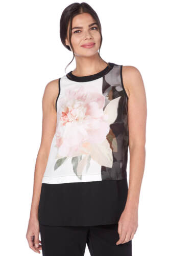 Roman Originals Women/'s Black Floral Print Chiffon Overlay Vest Sizes 10-20