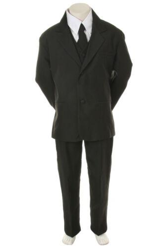 Infant Toddler Boys 6pc  Wedding Formal Tuxedo Suit Black extra Red Necktie S-20
