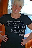 Bleachers & Bling Cheer Mom Rhinestone Bling Shirt Xs S M L Xl Xxl 1x2x 3x 4x 5x