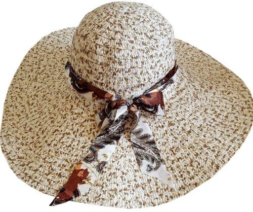 Fashion Summer Women/'s Ladies Beach Sun Visor Wide Brim Stripe Floppy Straw Hat