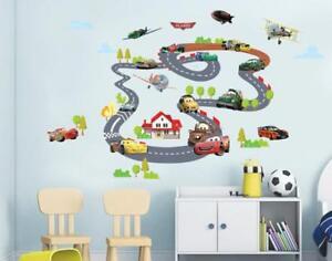 Wandtattoo-Wandsticker-Pixar-Cars-Autobahn-Lightning-McQueen-140-x-90-YD213