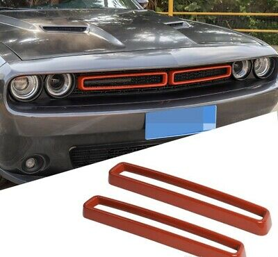 JeCar Grille Inserts ABS Grill Cover Trim Kit Exterior Accessories for 2015-2019 Dodge Challenger Red