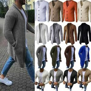 Mens-Knitted-Cardigan-Jacket-Winter-Casual-Sweater-Jumper-Trench-Coat-Outwear-AU