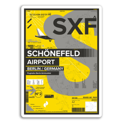 2 x 10cm SXF Berlin Schönefeld Airport Vinyl Stickers Germany Sticker #17455