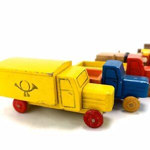 Vintage-GDR-East-German-Wooden-Toy-Trucks-Lorries-Cars-X6