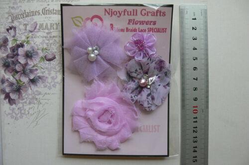 LILAC /& WHITE Fabric Satin 4-5 Flower Mixes 30-60 mm 4 Pack Choice B2 NJC
