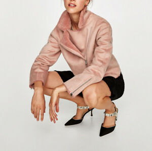 Zara jacke in wildlederoptik rosa