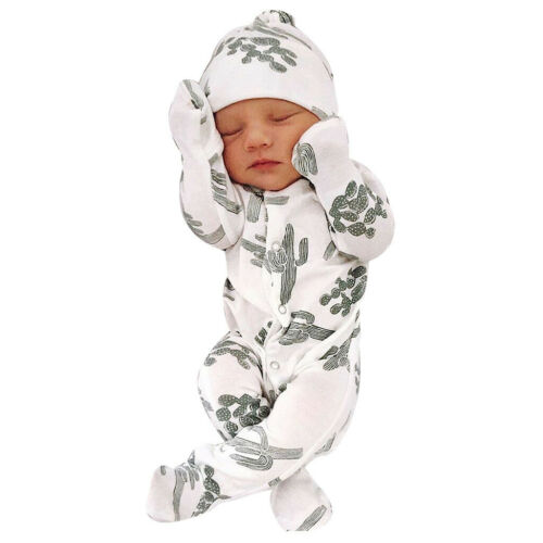 Hat Outfits Set Newborn Infant Baby Boy Girl Floral Romper Jumpsuit Sleepwear
