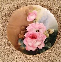 Antique Havilamd Limoges D'arcy Hand Painted Rose Plate Signed.