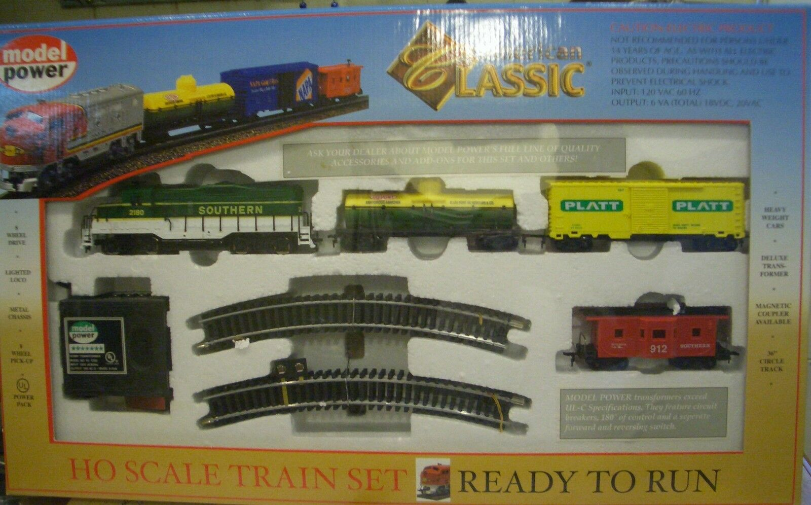 HO TRAINS CLASSIC TRAIN SET SOUTHERN W  TRACK & POWER PACK   1028 GP-9 2180 LOCO