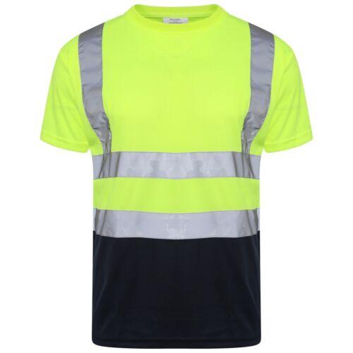 HI VIZ VISIBILIDAD Camiseta Mangas Cortas Escote Redondo trabajo de seguridad dos tonos de alta Vis