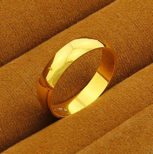 Fashion 24K Yellow Gold Plated 5MM Smooth Circle Unisex Band Ring #8-#10 jR018