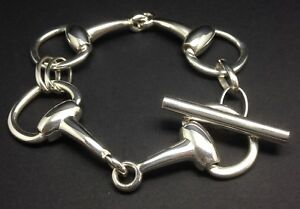 Image Is Loading Heavy Snaffle Horse Bit Bracelet Solid Sterling Silver