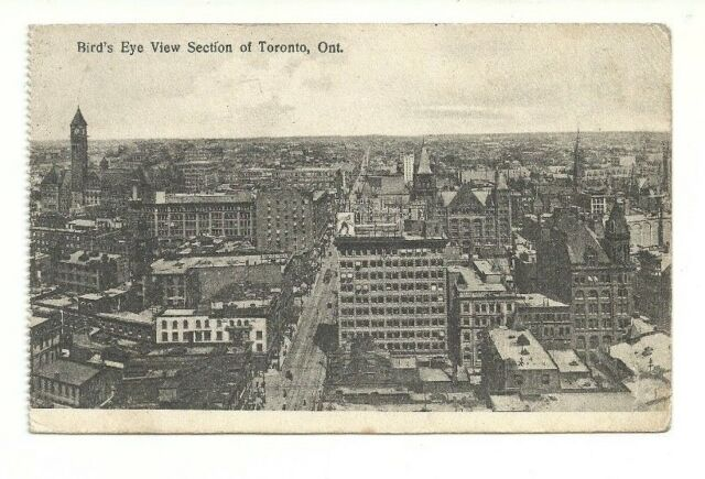 BIRD'S EYE VIEW SECTION OF TORONTO, ONTARIO, CANADA VINTAGE POSTCARD