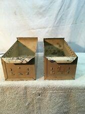 Vtg 2pc Industrial Metal Drawer Box Parts Bin Shelf Prim Display Card File Box