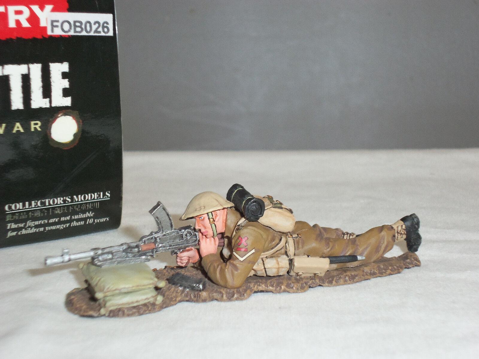 KING AND COUNTRY FOB26 BRITISH GUNNER LYING FIRING BREN GUN METAL TOY SOLDIER