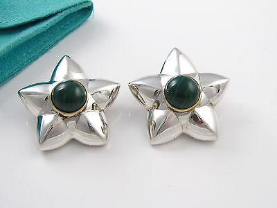 Tiffany & Co RARE VINTAGE Silver 18K Gold Malachite Star Earrings!