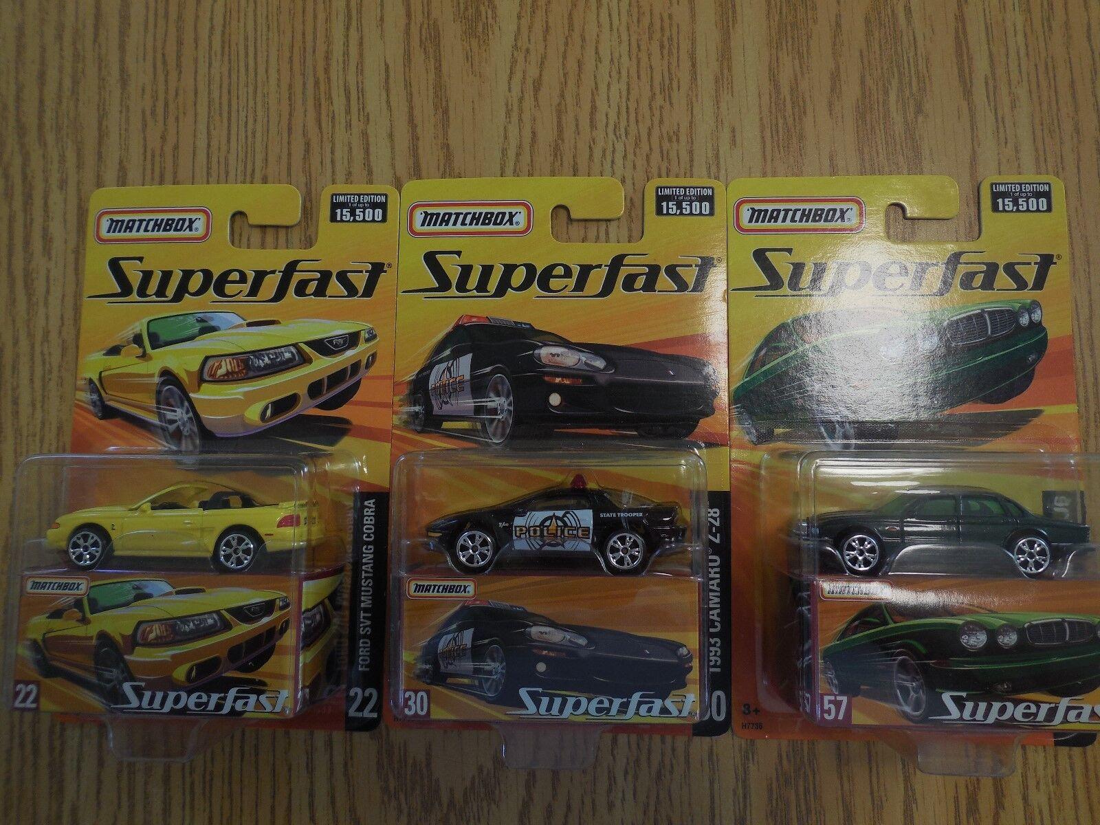2004 matchbox superfast autos 3 1 mustang corra camaro z-28 - jaguar xj6