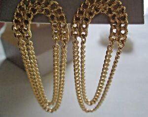 AVON 1990 MODERN CLASSIC PIERCED EARRINGS GOLD TONE ~ NIB