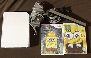 Nintendo Wii Console with Power, AV Cable, Sensor & 2 Spongebob Games All Tested