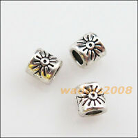 60 New Charms Tibetan Silver Flower Round Tube Spacer Beads 4mm