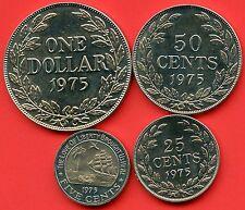 1975 Liberia 1 Dollar, 50 Cent 25 Cent & 5 Cent Coins