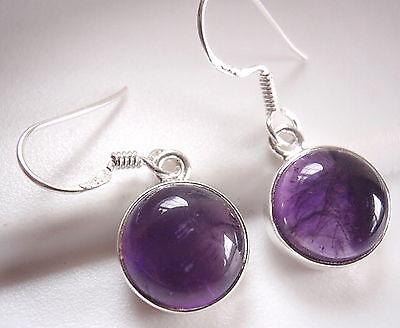 Purple Amethyst Earrings 925 Sterling Silver Round Dangle Corona Sun Jewelry