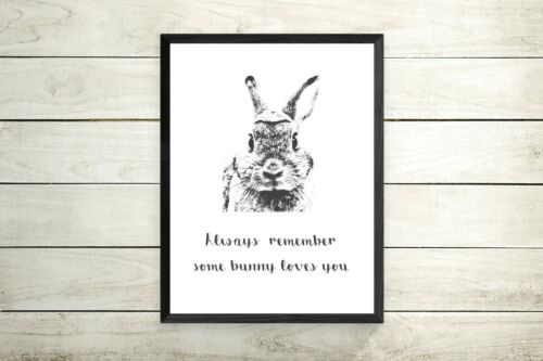 Some Bunny Loves You Prints Nursery Wall Art Pink Decor Kids Room Picture