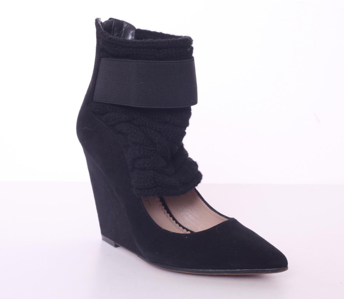 JEAN-MICHEL CAZABAT Black Suede & Knit High Heel Zip-Up Wedge Pump shoes 7.5-37.5