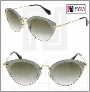 3eaf2312eb62 MIU MIU NOIR 53R Round Pale Green Gold Metal Gradient Sunglasses ...